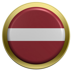 Latvia Flag On The Round Button Isolated On White.