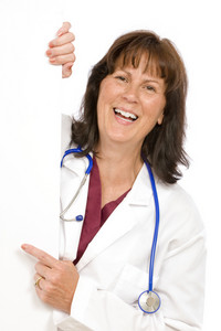 Laughing Doctor With Blank Sign
