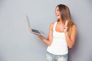 Laughing girl making video call