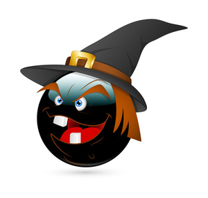 Laughing Naughty Witch Halloween Smiley