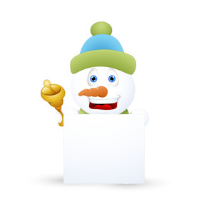 Laughing Snowman With Bell And Banner