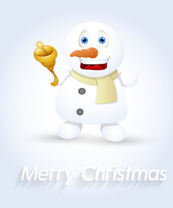 Laughing Snowman With Golden Bell