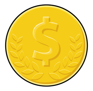 Laurel Wreath Dollar Coin Vector