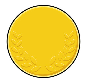 Laurel Wreath Symbol Yellow Coin