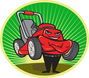 Lawn Mower Man Cartoon Oval