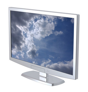Lcd Tv Monitor On White Background.