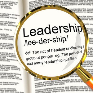Leadership Definition Magnifier Showing Active Management And Achievement