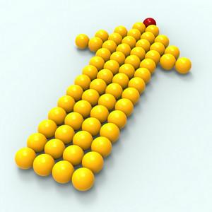 Leading Metallic Balls In Arrow Shows Leadership