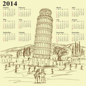 Leaning Tower Of Pisa 2014 Vintage Calendar