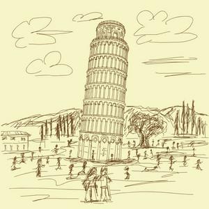 Leaning Tower Of Pisa Vintage