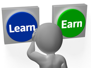 Learn Earn Buttons Show Career Or Training
