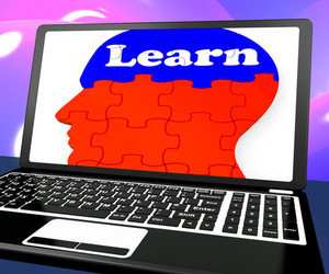Learn On Brain On Laptop Shows Online Education