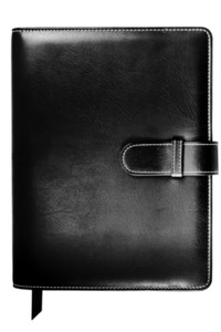 Leather-covered Bound Notebook With Black Cover