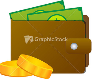 Leather Wallet With Money And Coins On White Background