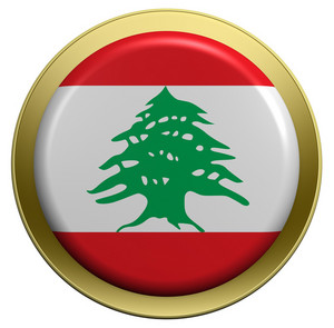 Lebanon Flag On The Round Button Isolated On White.