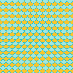 Lemon Yellow And Blue Scales Pattern