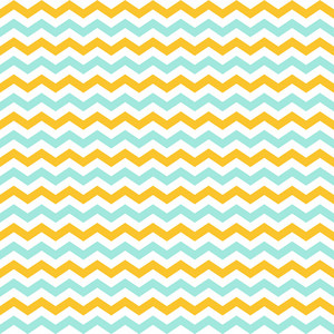 Lemon Yellow, White, And Blue Chevron Pattern