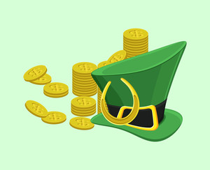 Leprechaun Hat With Gold Coins And Horseshoe