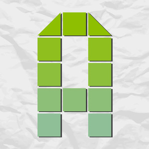 Letter A From Squares And Triangles On A Paper-background. Vector Illustration