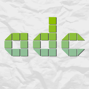 Letter Adc From Squares And Triangles On A Paper-background. Vector Illustration