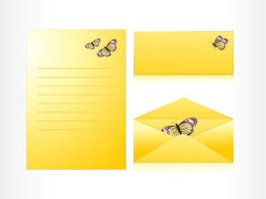 Letter And Envelope With Butterfly Header
