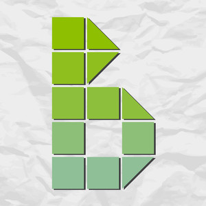 Letter B From Squares And Triangles On A Paper-background. Vector Illustration