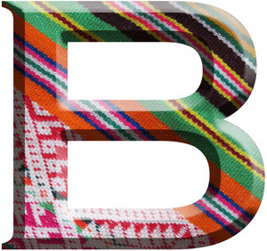 Letter B Made With Hand Made Woolen Fabric