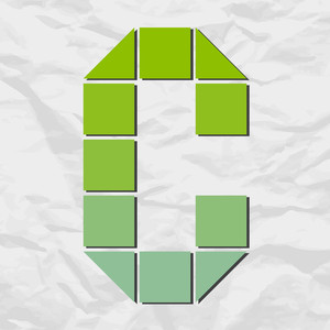 Letter C From Squares And Triangles On A Paper-background. Vector Illustration