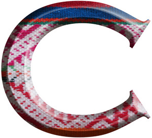 Letter C Made With Hand Made Woolen Fabric