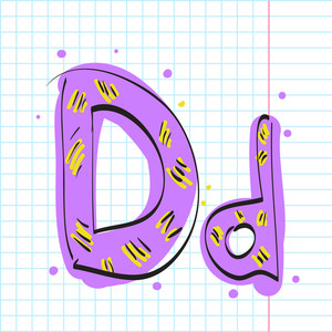 Letter D From Candy Alphabet. Vector Illustration