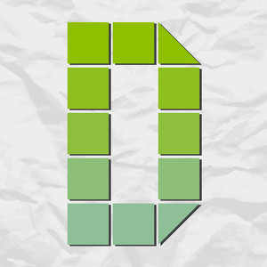 Letter D From Squares And Triangles On A Paper-background. Vector Illustration