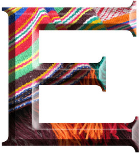 Letter E Made With Hand Made Woolen Fabric