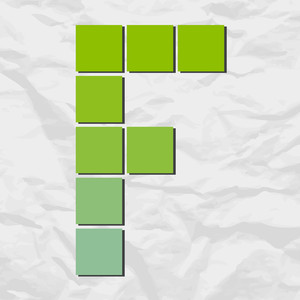Letter F From Squares And Triangles On A Paper-background. Vector Illustration