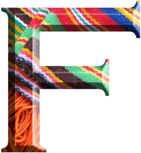 Letter F Made With Hand Made Woolen Fabric