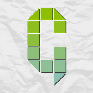 Letter G From Squares And Triangles On A Paper-background. Vector Illustration