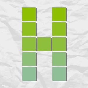 Letter H From Squares And Triangles On A Paper-background. Vector Illustration