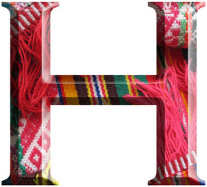 Letter H Made With Hand Made Woolen Fabric