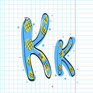 Letter K From Candy Alphabet. Vector Illustration