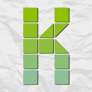 Letter K From Squares And Triangles On A Paper-background. Vector Illustration