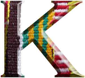 Letter K Made With Hand Made Woolen Fabric