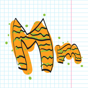 Letter M From Candy Alphabet. Vector Illustration