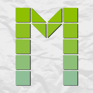 Letter M From Squares And Triangles On A Paper-background. Vector Illustration