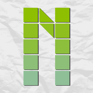 Letter N From Squares And Triangles On A Paper-background. Vector Illustration