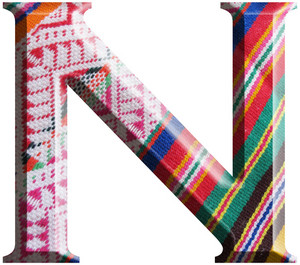Letter N Made With Hand Made Woolen Fabric