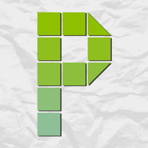 Letter P From Squares And Triangles On A Paper-background. Vector Illustration