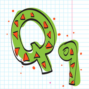 Letter Q From Candy Alphabet. Vector Illustration