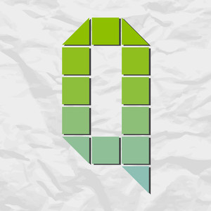 Letter Q From Squares And Triangles On A Paper-background. Vector Illustration