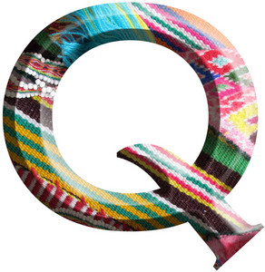 Letter Q Made With Hand Made Woolen Fabric