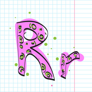 Letter R From Candy Alphabet. Vector Illustration