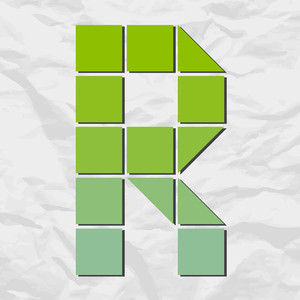 Letter R From Squares And Triangles On A Paper-background. Vector Illustration